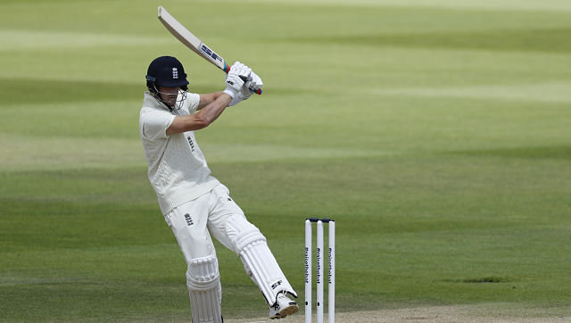 England's Joe Denly bats during the fourth day of the first Test against West Indies. AP