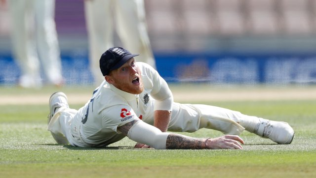 Ben Stokes reacts after dropping a Jermaine Blackwood catch at first slip. AP