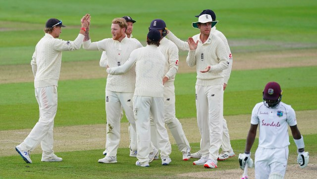 Ben Stokes celebrates with teammates after getting the key wicket of Jermaine Blackwood on the final day of the second Test. AP
