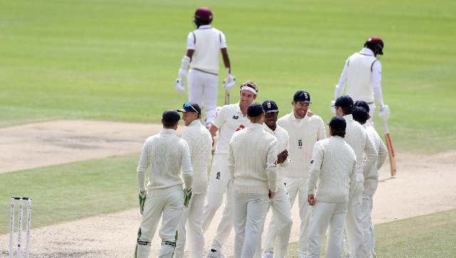 Stuart Broad's first wicket of the day made him the seventh man in test history to claim 500 Test wickets. AP