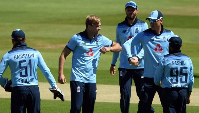 England's David Willey celebrates after dismissing Ireland's Paul Stirling during the first ODI. AP