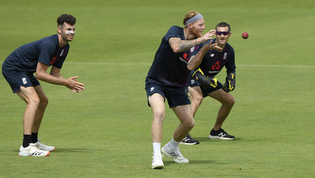 England captain Ben Stokes takes a catch in the slips during a nets session at the Ageas Bowl in Southampton, England, Tuesday July 7, 2020. England are scheduled to play West Indies in their first Test match on July 8-12. (Stu Forster/Agency Pool)