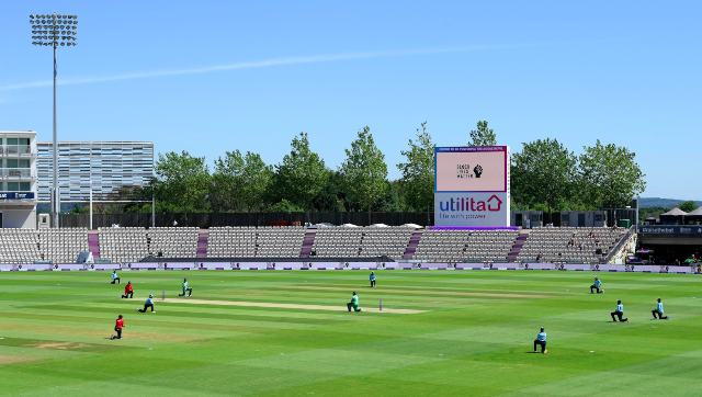Players take the knee at the start of the first ODI between England and Ireland at Southampton. Image credit: Twitter/@Irelandcricket