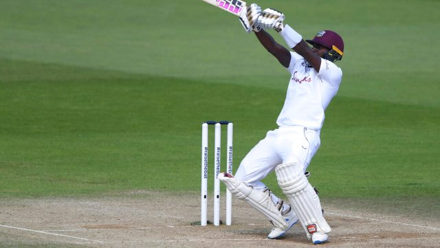 West Indies' Jermaine Blackwood plays a shot during the fifth day of the first cricket Test match between England and West Indies. AP