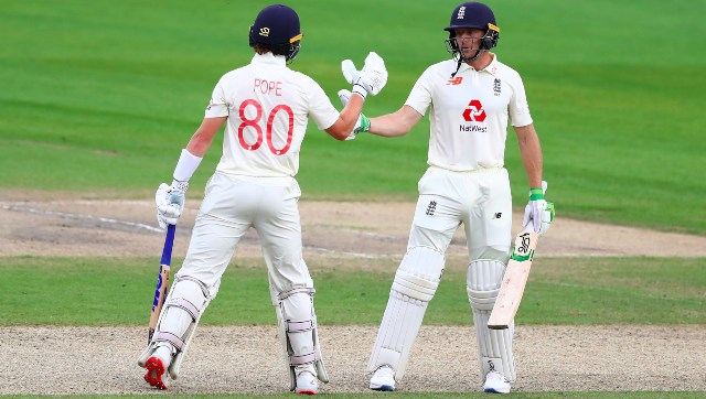 Ollie Pope and Jos Buttler shared an unbroken 136-run stand for the fifth wicket on Day 1. AP