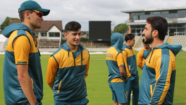 Pakistan players at a training session in New Road, Worcester. Image credit: Twitter/@TheRealPCB