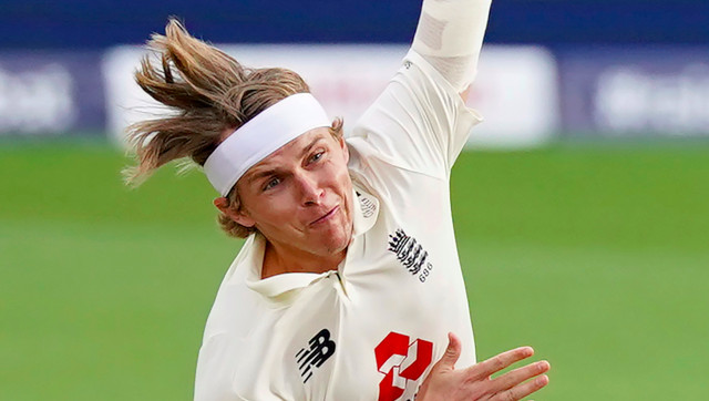 Sam Curran in action on the second day of the second Test against West Indies at Manchester. AP