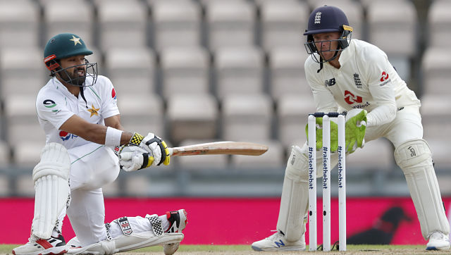 Pakistan's Mohammad Rizwan plays a shot during the third day of the third Test against England. AP