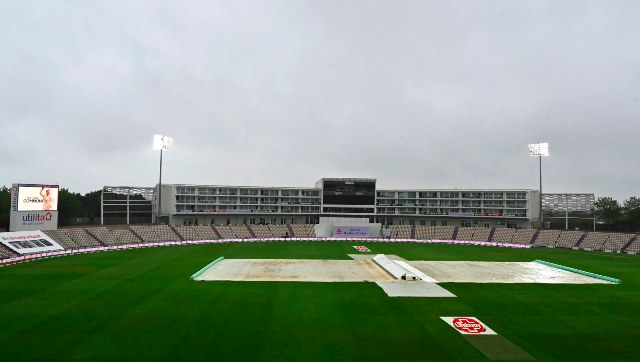 Ageas Bowl wears a deserted look with the pitch under covers on Day 3 of the second Test between England and Pakistan. AP