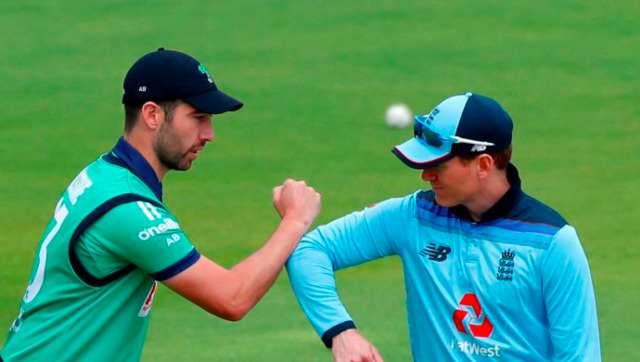 File image of Andy Balbirnie and Eoin Morgan, captain of Ireland and England respectively. Image credit: Twitter/@Irelandcricket