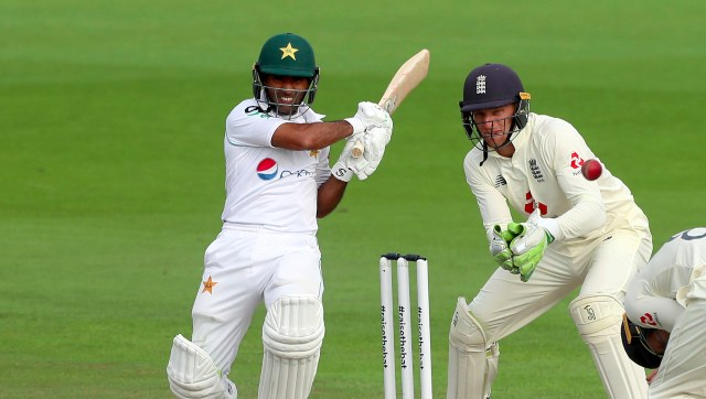 Pakistan batsman Asad Shafiq plays a shot on Day 3 of the first Test against England at Manchester. AP