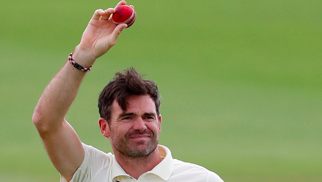 England pacer James Anderson holds up the ball after dismissing Azhar Ali in the third Test to collect his 600th wicket. AP