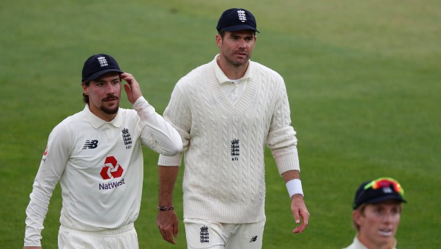 James Anderson in action against Pakistan on day 4 of third Test. AP