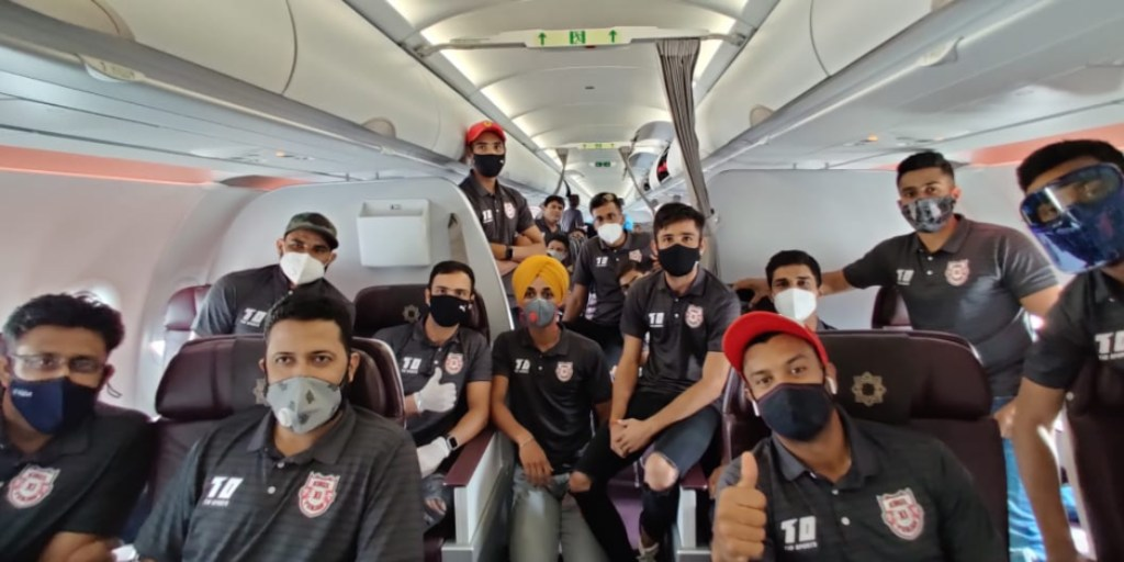 Kings XI Punjab players pose for a photograph as they leave for UAE for the 13 edition of the IPL. Image courtesy: Twitter @lionsdenkxip