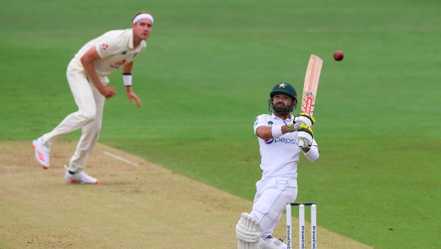 Pakistan wicketkeeper-batsman Mohammad Rizwan plays a shot off Stuart Broad's bowling on Day 2 of the second Test at Southampton. AP