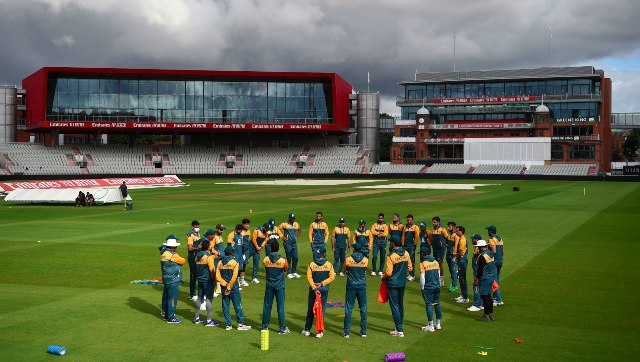 The Pakistan squad forms a huddle during a training session at the Old Trafford ahead of the first Test. AP