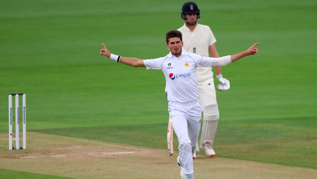 Pakistan pacer Shaheen Shah Afridi celebrates the dismissal of Rory Burns on Day 4. AP