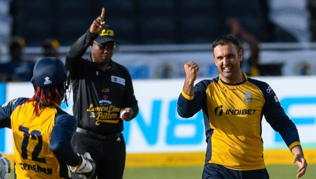 Mohammad Nabi scored 27 runs and took a wicket as St Lucia Zouks defeated Guyana Amazon Warriors by 10 runs. Image: St Lucia Zouks