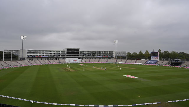 A general view of the Ageas Bowl during the second day of the second cricket Test match between England and Pakistan, in Southampton, England, Friday, Aug. 14, 2020. (Glyn Kirk/Pool via AP)
