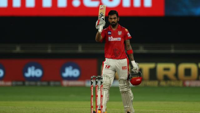 KL Rahul captain of Kings XI Punjab celebrates his century during match 6 of season 13 of the Dream 11 Indian Premier League (IPL) between Kings XI Punjab and Royal Challengers Bangalore held at the Dubai International Cricket Stadium, Dubai in the United Arab Emirates on the 24th September 2020. Photo by: Ron Gaunt / Sportzpics for BCCI
