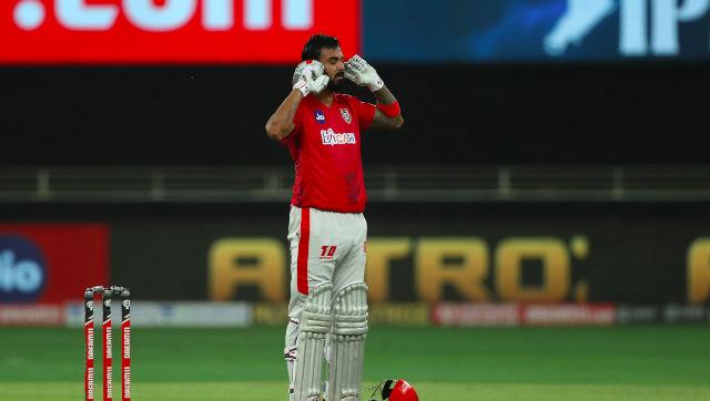 KL Rahul celebrates after reaching his second IPL century. Sportzpics