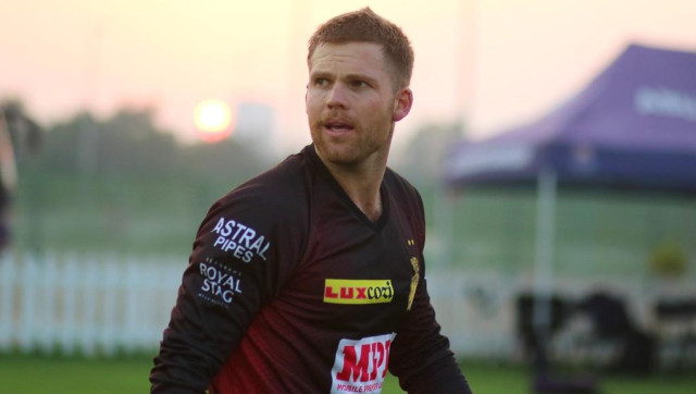 Lockie Ferguson at a KKR training session in the build-up to the 2020 edition of the Indian Premier League. KKR