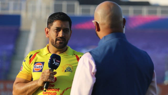 MS Dhoni of the Chennai Super Kings during the toss at the IPL's opening match. SportzPics