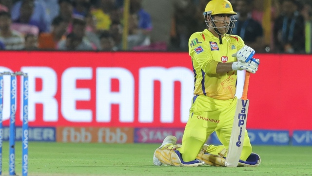 MS Dhoni came at number 7 and went on the offensive only in the 20th over. Image courtesy: Twitter/ @ChennaiIPL