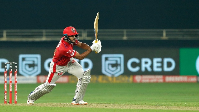 Mayank Agarwal's half-century brought Kings XI Punjab to the brink of a famous win.  Image courtesy: Twitter/ @lionsdenkxip