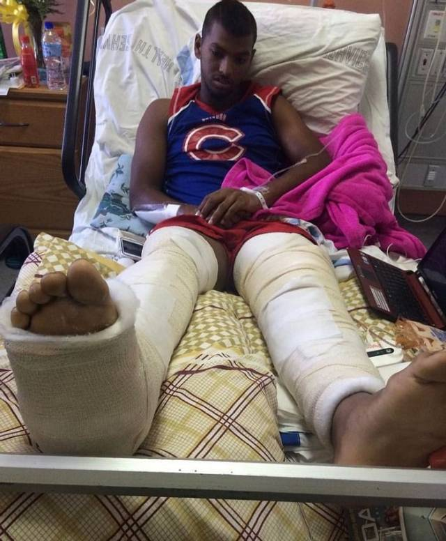Nicholas Pooran was unable to walk for six months in 2015 after an accident. Source: Twitter
