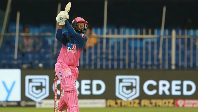 Rahul Tewatia of Rajasthan Royals plays a shot during match 9 of season 13 of the Indian Premier League (IPL) between Rajasthan Royals and Kings XI Punjab held at the Sharjah Cricket Stadium, Sharjah in the United Arab Emirates on the 27th September 2020. Photo by: Rahul Gulati / Sportzpics for BCCI