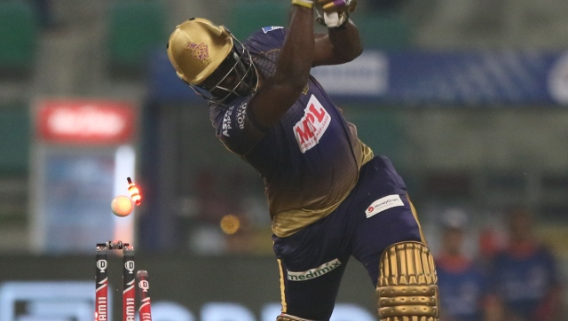 Andre Russell sent at No 5 failed to find his rhythm against MI. Image courtesy Pankaj Nangia  Sportzpics for BCCI