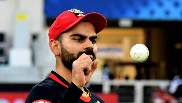 RCB Captain Virat Kohli thoughtfully throws and catches the cricket ball during the match 6 of season 13, Dream 11 Indian Premier League (IPL) between Kings XI Punjab and Royal Challengers Bangalore held at the Dubai International Cricket Stadium, Dubai in the United Arab Emirates on the 24th September 2020. Photo by: SAMUEL RAJKUMAR / Sportzpics for BCCI