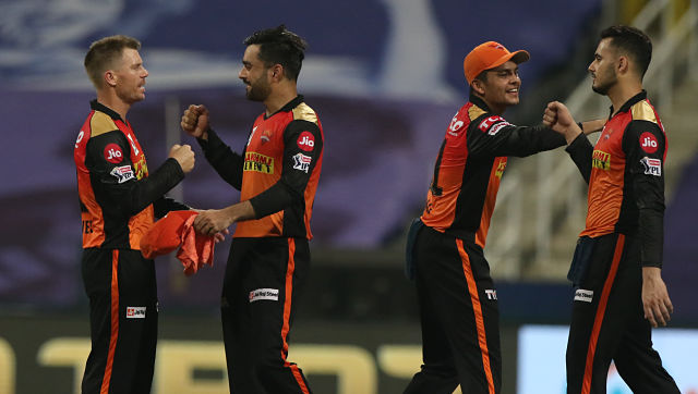 David Warner captain of Sunrisers Hyderabad celebrate the win during match 11 of season 13 of Indian Premier League (IPL) between the Delhi Capitals and the Sunrisers Hyderabadheld at the Sheikh Zayed Stadium, Abu Dhabi in the United Arab Emirates on the 29th September 2020. Photo by: Pankaj Nangia / / Sportzpics for BCCI