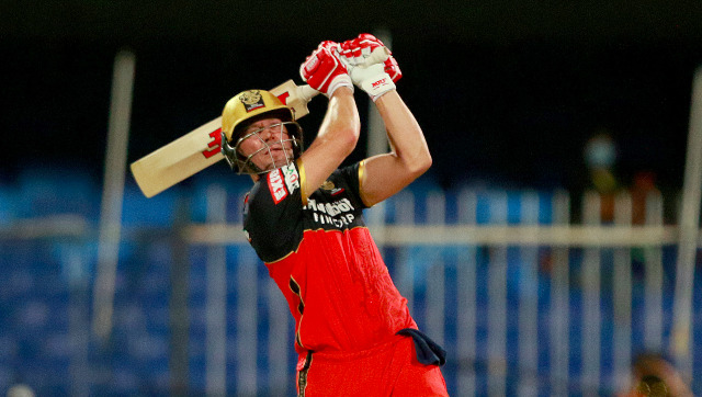 AB de Villiers struck a whirlwind 73 not out off 33 balls to guide RCB to a challenging total on a slow Sharjah surface. Sportzpics