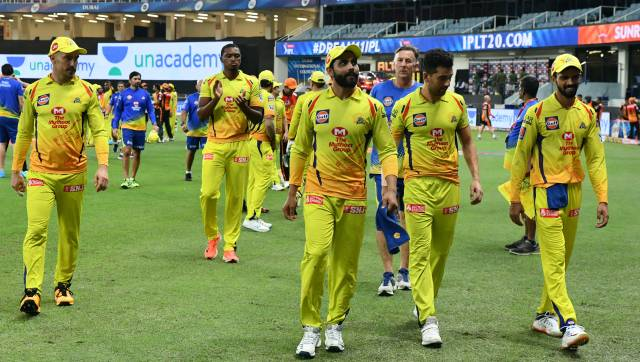 CSK team celebrate thier victory during match 29 of season 13 of the Dream 11 Indian Premier League (IPL) between the Sunrisers Hyderabad and the Chennai Super Kings held at the Dubai International Cricket Stadium, Dubai in the United Arab Emirates on the 13th October 2020. Photo by: Samuel Rajkumar / Sportzpics for BCCI