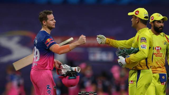 Steve Smith captain of Rajasthan Royals celebrate the victory during match 37 of season 13 of the Dream 11 Indian Premier League (IPL) between the Chennai Super Kings and the Rajasthan Royals at the Sheikh Zayed Stadium, Abu Dhabi in the United Arab Emirates on the 19th October 2020. Photo by: Pankaj Nangia / Sportzpics for BCCI