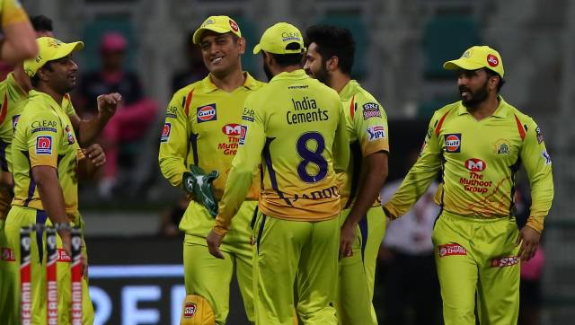 MS Dhoni captain of Chennai Superkings celebrates after takes the catch to dismiss Sanju Samson of Rajasthan during match 37 of season 13 of the Dream 11 Indian Premier League (IPL) between the Chennai Super Kings and the Rajasthan Royals at the Sheikh Zayed Stadium, Abu Dhabi in the United Arab Emirates on the 19th October 2020. Photo by: Pankaj Nangia / Sportzpics for BCCI