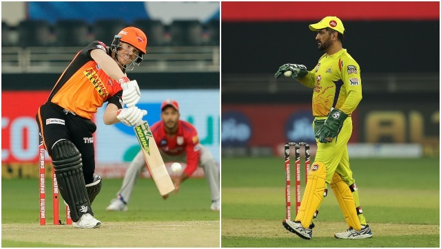 David Warner and MS Dhoni, captain of Sunrisers Hyderabad and Chennai Super Kings respectively. Sportzpics