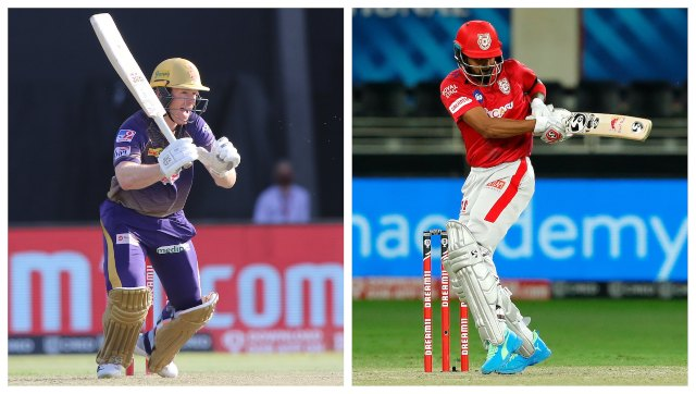File image of KKR captain Eoin Morgan and KXIP captain KL Rahul. SportzPics