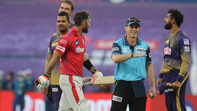 Umpire Chris Gaffaney signals a four during match 24 of season 13 of the Dream 11 Indian Premier League (IPL) between the Kings XI Punjab and the Kolkata Knight Riders at the Sheikh Zayed Stadium, Abu Dhabi in the United Arab Emirates on the 10th October 2020. Photo by: Vipin Pawar / Sportzpics for BCCI