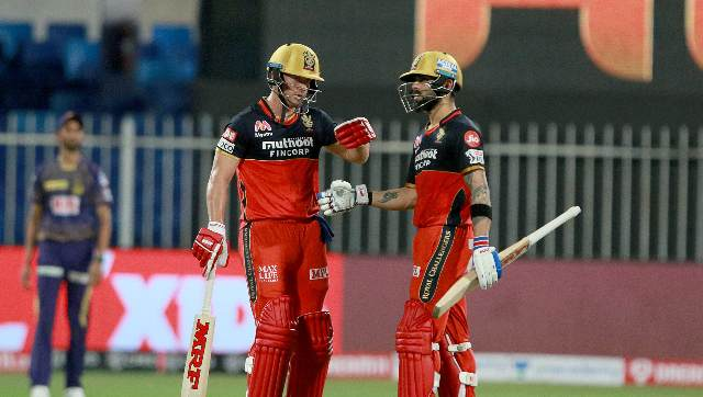 RCB thrashed Kolkata Knight Riders by 82 runs in Sharjah as De Villiers stood tall with his 33-ball blitz and an unbeaten century stand with Kohli, who made 33. Sportzpics