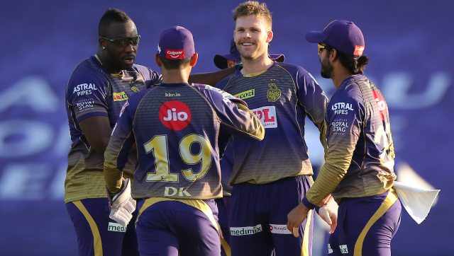 Playing his first match of the season, Lockie Ferguson took three wickets to help KKR tie the match against SRH. He then bowled an excellent Super Over to propel KKR to a vital win. Image: Sportzpics for BCCI