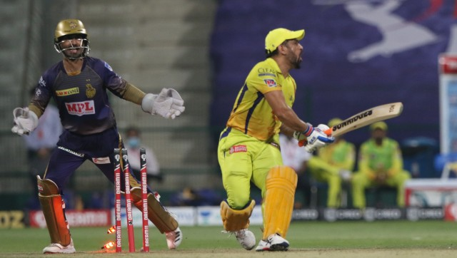 MS Dhoni walked in at No 4 against KKR, but failed to get going and was bowled after a laboured effort. Image courtesy: Sportzpics