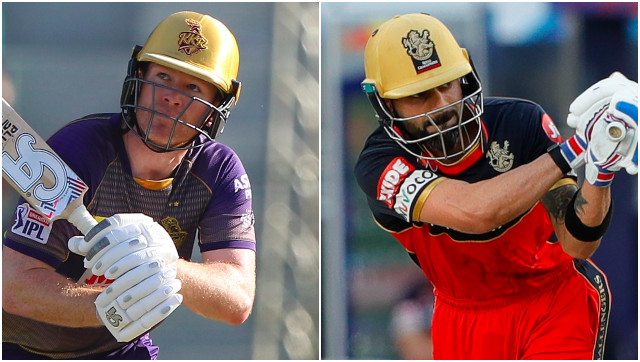 File image of Eoin Morgan and Virat Kohli, captain of Kolkata Knight Riders and Royal Challengers Bangalore respectively. Sportzpics