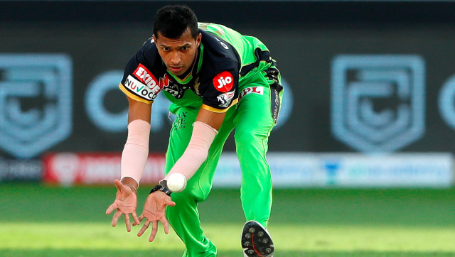 Royal Challengers Bangalore pacer Navdeep Saini split the webbing on his right thumb while fielding off his own bowling during their return clash against Chennai Super Kings. Sportzpics