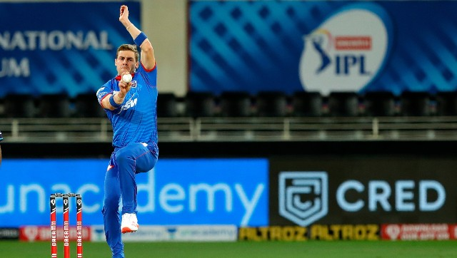 DC's Anrich Nortje consistently clocked over 150 kmph in their match against RR. Image: Sportzpics