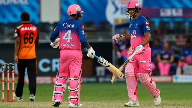 Rahul Tewatia and Riyan Parag snatched an unlikely win for RR on Sunday. Image: Sportzpics
