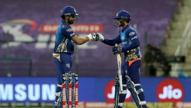 Rohit Sharma and Quinton de Kock put up 94 runs for first wicket as MI chased down the target of 149 in 16.5 overs against KKR. Image: Sportzpics for BCCI