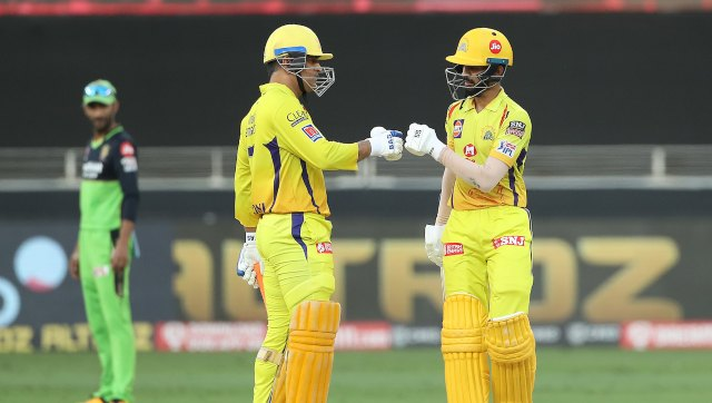 MS Dhoni and Ruturaj Gaikwad of Chennai Super Kings pictured during match 44 of season 13 of the Dream 11 Indian Premier League (IPL) between the Royal Challengers Bangalore and the Chennai Super Kings held at the Dubai International Cricket Stadium, Dubai in the United Arab Emirates on the 25th October 2020. Photo by: Ron Gaunt / Sportzpics for BCCI an IPL match against Royal Challengers Bangalore. SportzPics